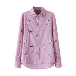 Asymmetric Cat Embroidered Check Pink Shirt | pariscoming