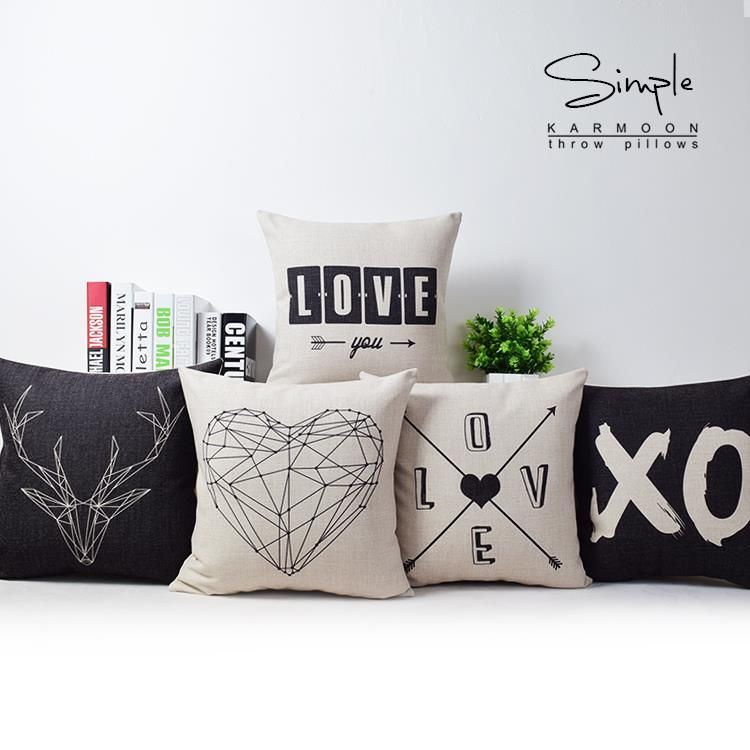 love decorative throw pillow coverdeer black and white decorative pillow caseschair seat sofa couch cushion home decor cover