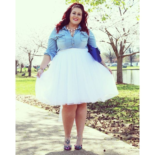 """""""This Azazie  skirt is just so girly and fun!! It's the newest look on the blog in case you missed it! Www.curvescurlsandclothes.com"""