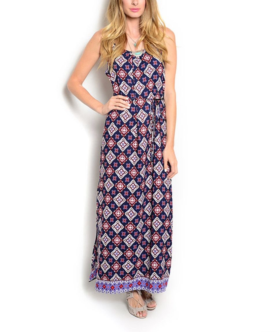 46848b0bc Love this Navy & Pink Diamond Maxi Dress by Buy in America on #zulily!  #zulilyfinds