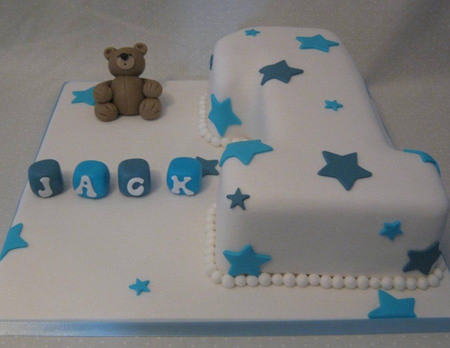 Baby Boy Number 1 Cake White number 1 cake with blue star