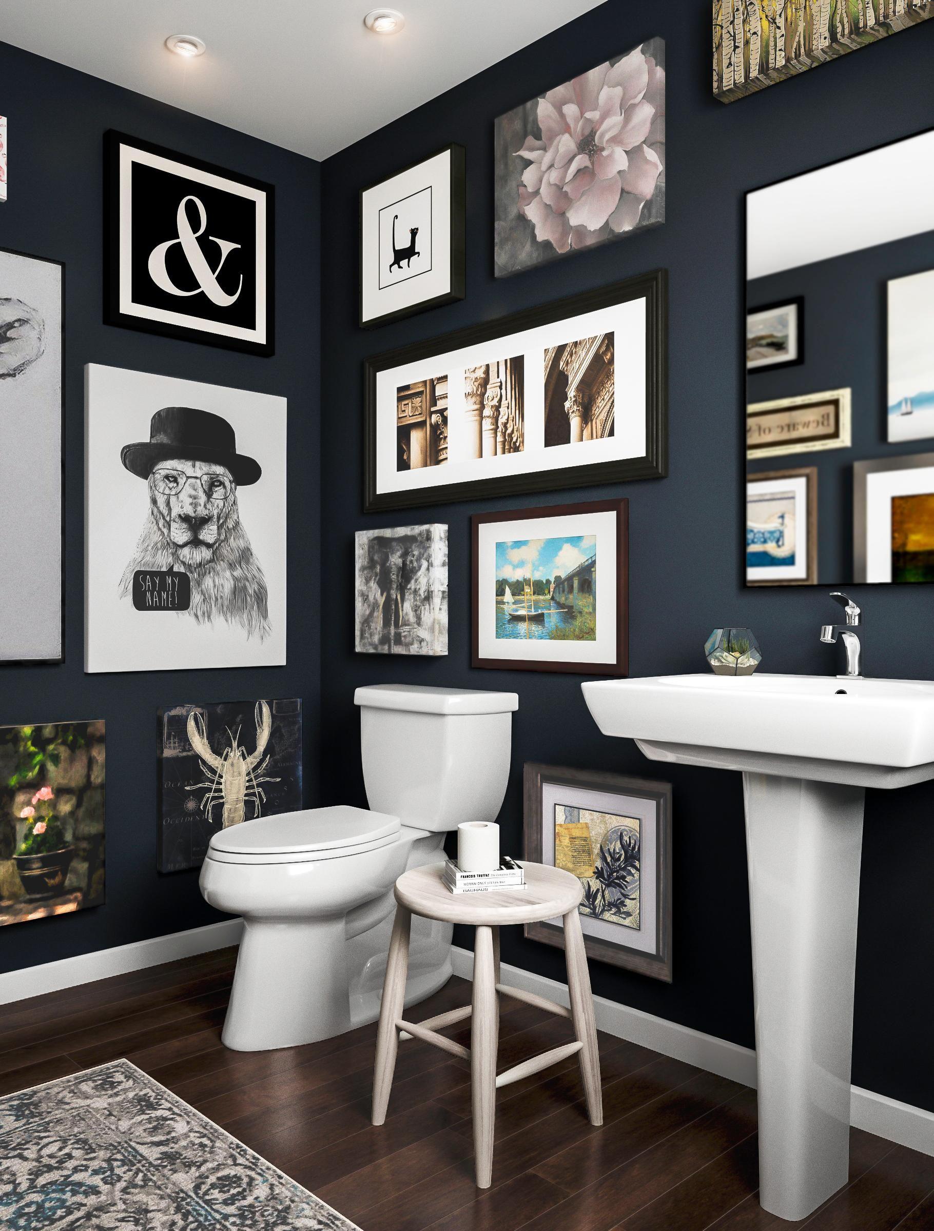 Dark Bathroom With Art Gallery Bathroom Gallery Wall Bathroom Design Bathroom Design Gallery