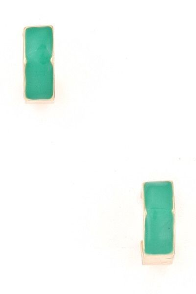 Colored Hexagon Studs in Green