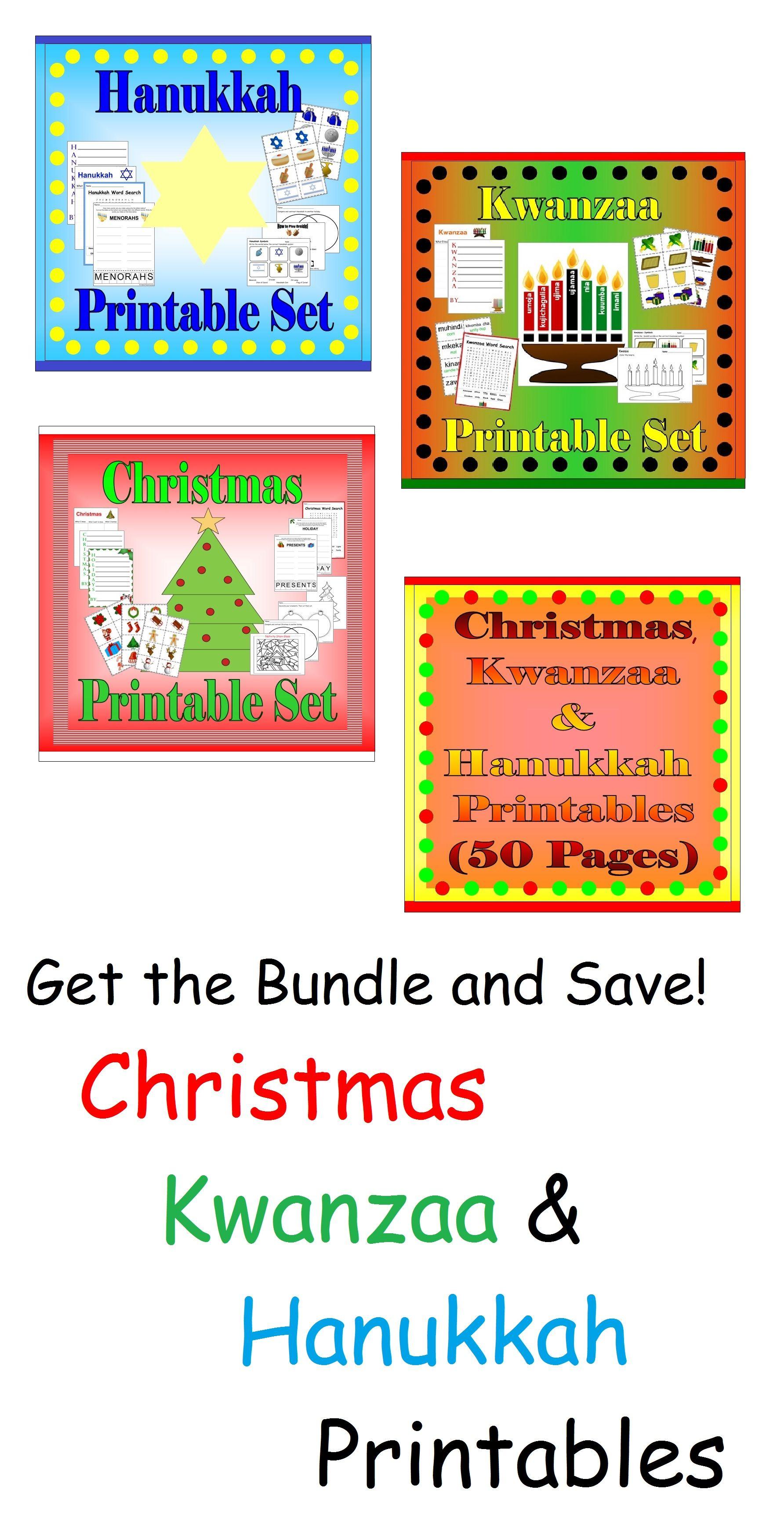 Holiday Activity Sheets Bundle Christmas Kwanzaa Hanukkah