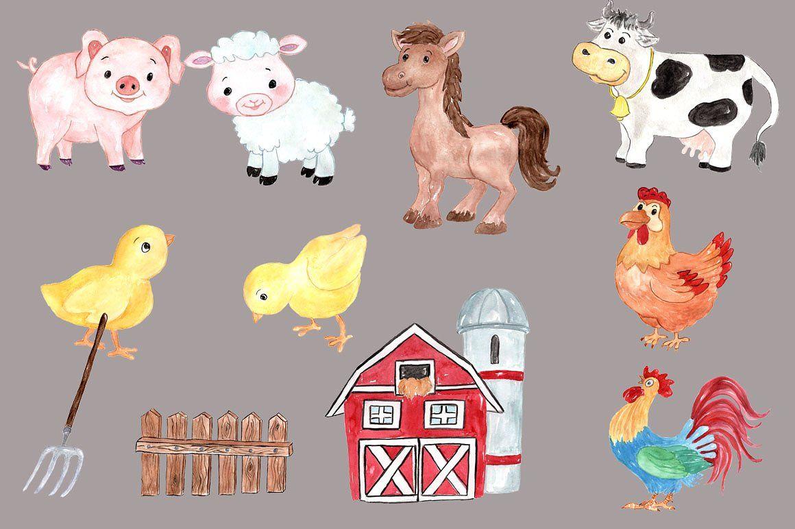 Watercolor Farm Animals Clipart Chicken Barn Animal Clipart Farm Kids