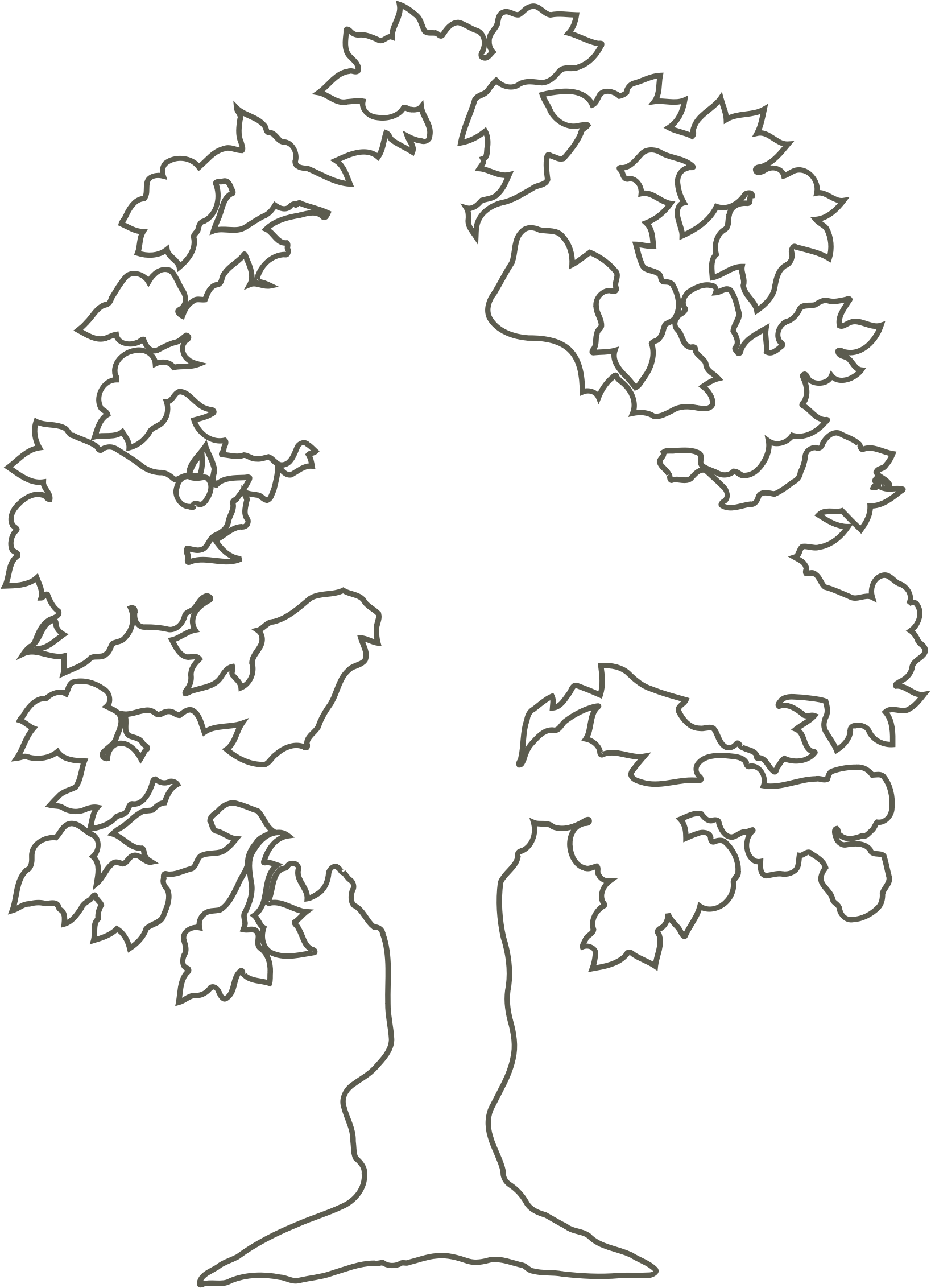 Simple Flowering Tree Outline By Andy Silhouette Of