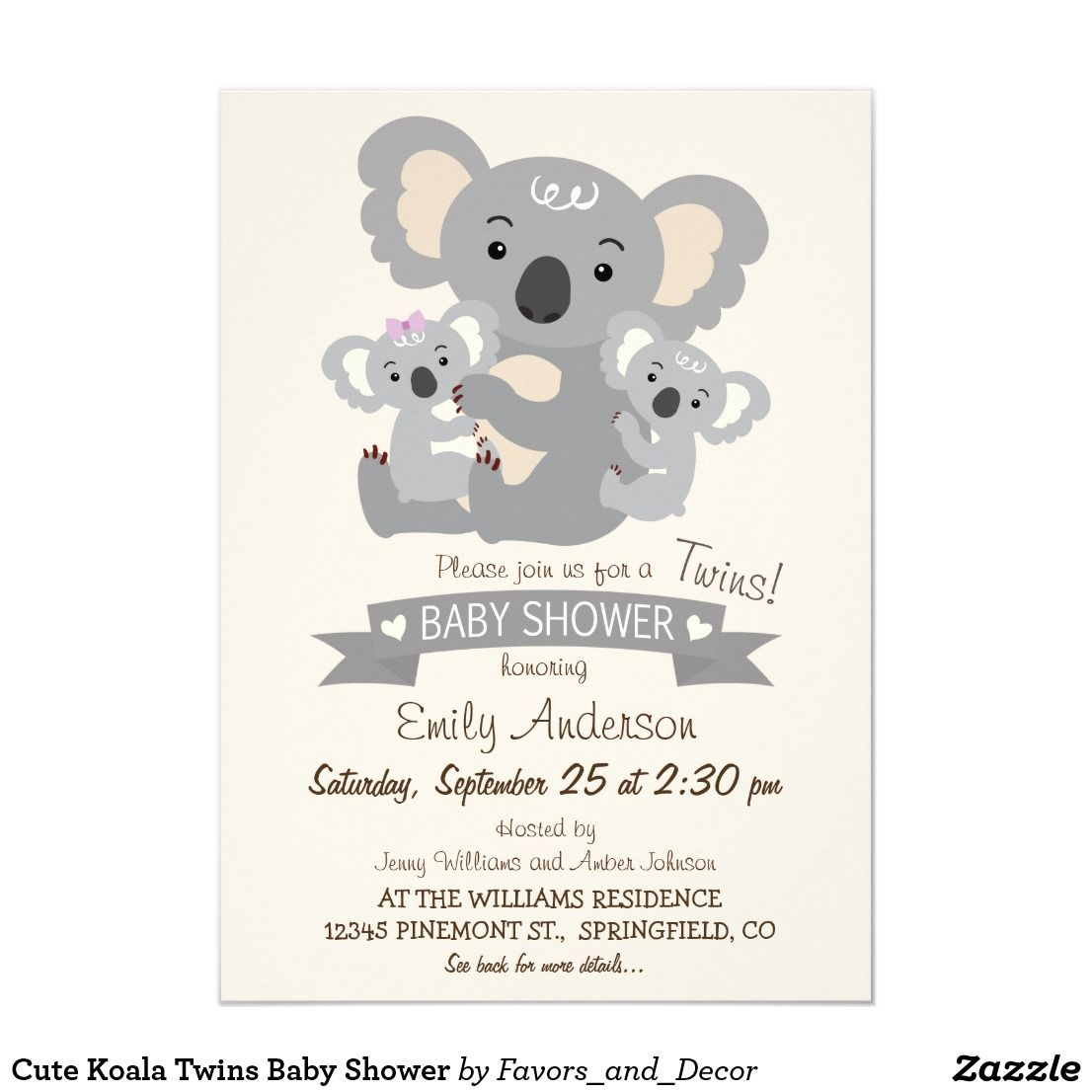 Cute Koala Twins Baby Shower Invitation Zazzle Com Baby