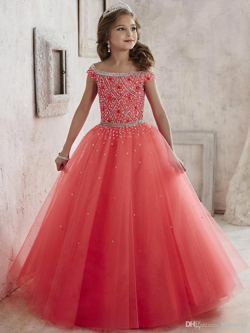 Little Girls Pageant Dresses wear 2016 New Off Shoulder Crystal ...