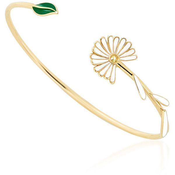 Alison Lou Daisy Bypass Cuff ($1,650) ❤ liked on Polyvore featuring jewelry, bracelets, cuff bangle, 14k jewelry, green jewelry, cuff jewelry and white jewelry