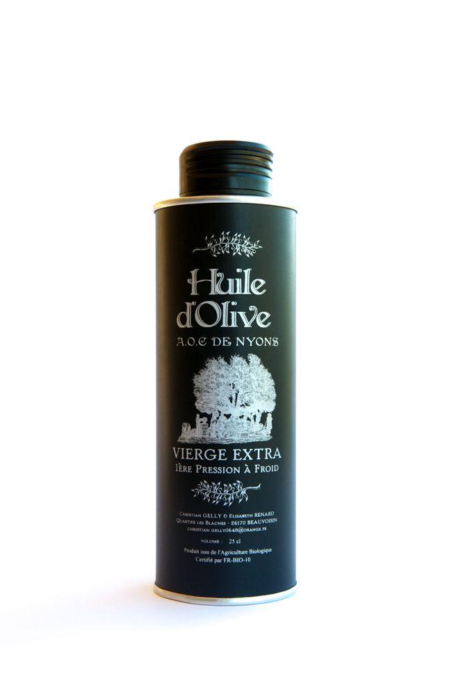 Huile d'Olive AOC Nyons bidon métal sérigraphié 25 cl