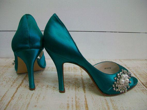 Teal Wedding Shoe Pearl Crystal Brooch Bridal Shoe Low Heel Etsy Bridal Shoes Low Heel Teal Wedding Shoes Silver Wedding Shoes