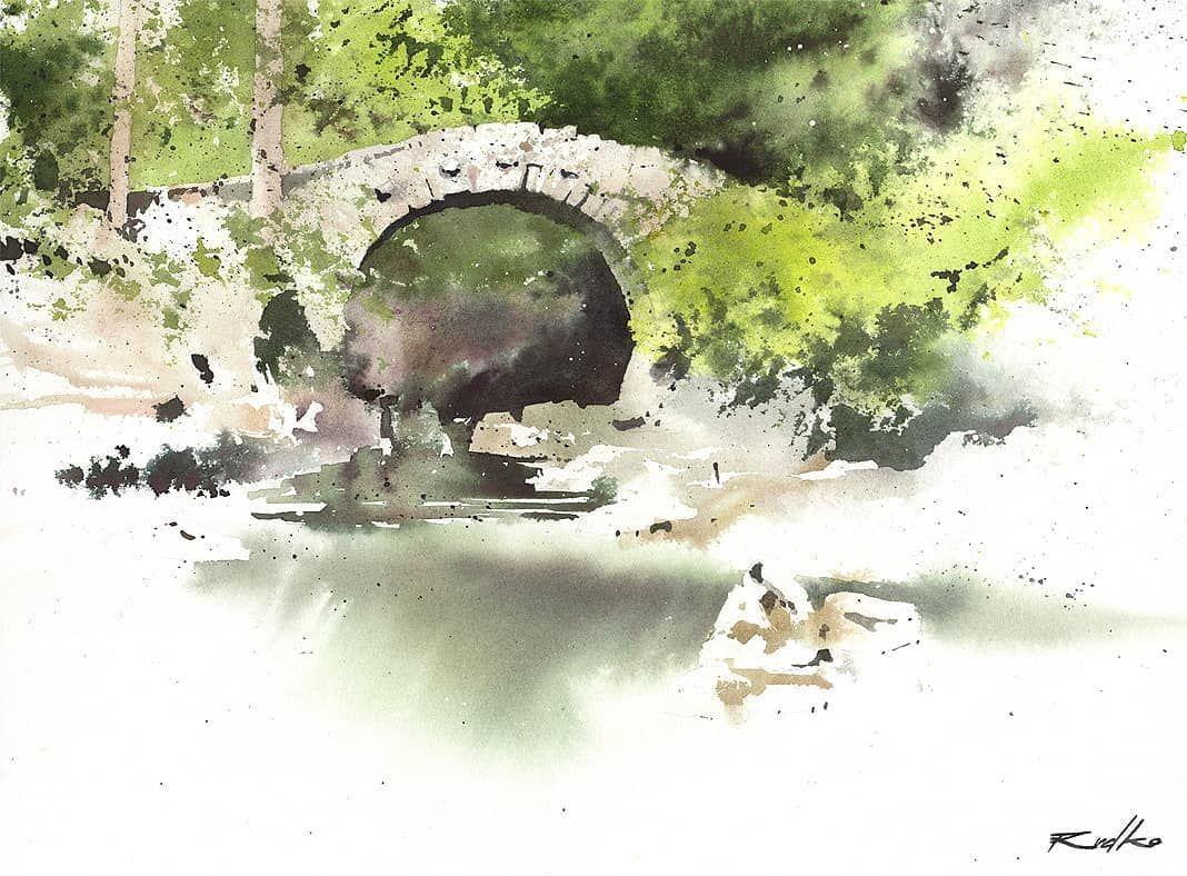Rafal Rudko On Instagram Bridge In Green Watercolor 23x30cm I