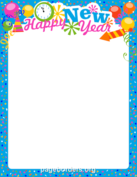 Printable New Year's Eve border. Use the border in