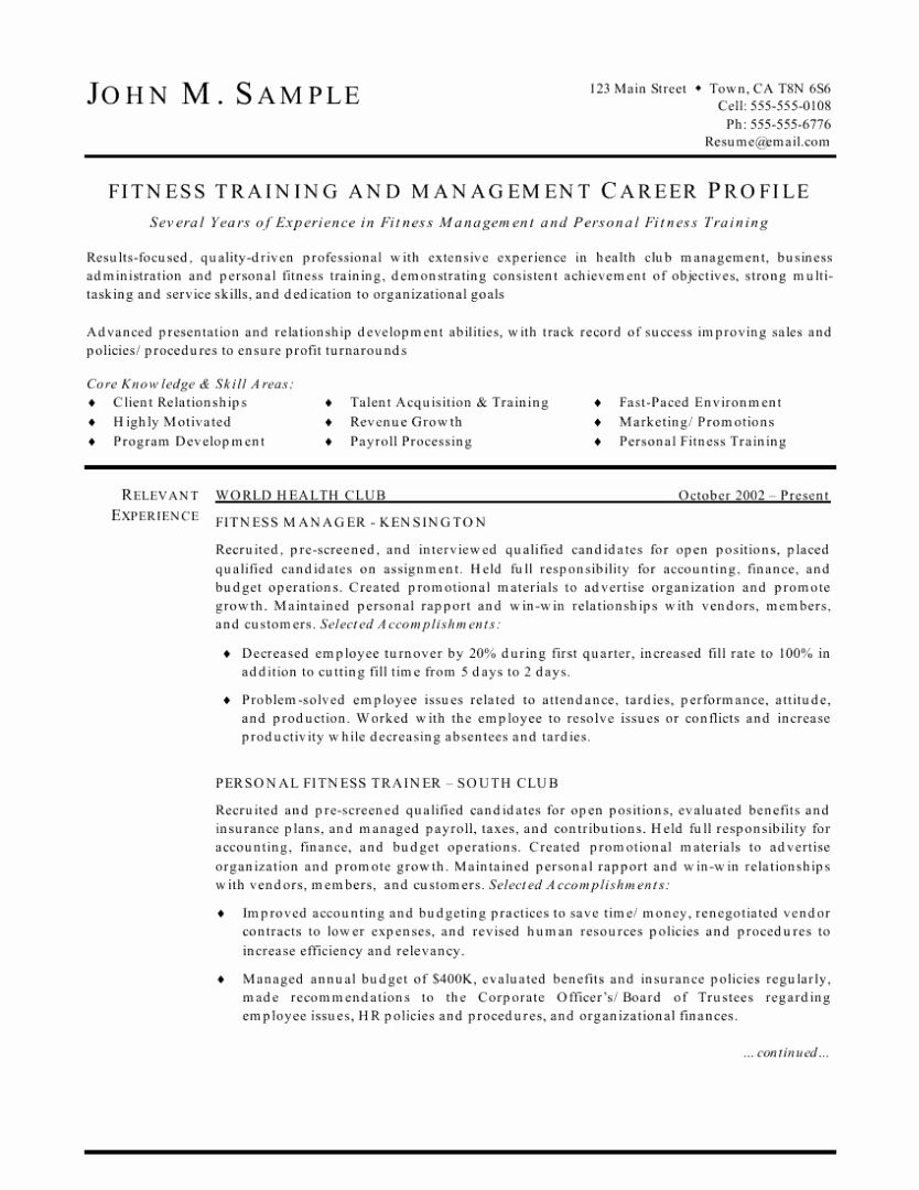 Personal Trainer Job Description Resume Awesome Fitness
