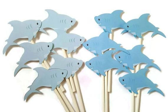 Shark cupcake toppers - set of 12 food picks, party picks #pictureplacemeant