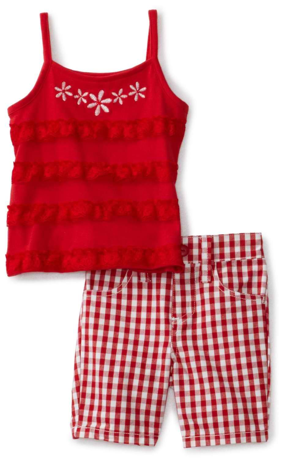 532fe1e10ab8 Nannette Baby-Girls Infant 2 Piece Chequered Bermuda Set  14.25 ...