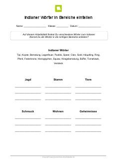 Arbeitsblatt: Indianer-Wörter in Bereiche einteilen | Kostenlose ...