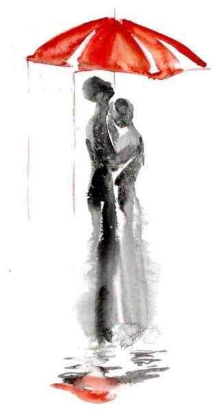 Black and white with a splash of red - Couple in the Rain : beautiful
