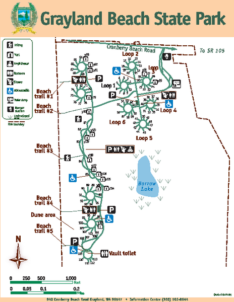Grayland Beach State Park Map Camping