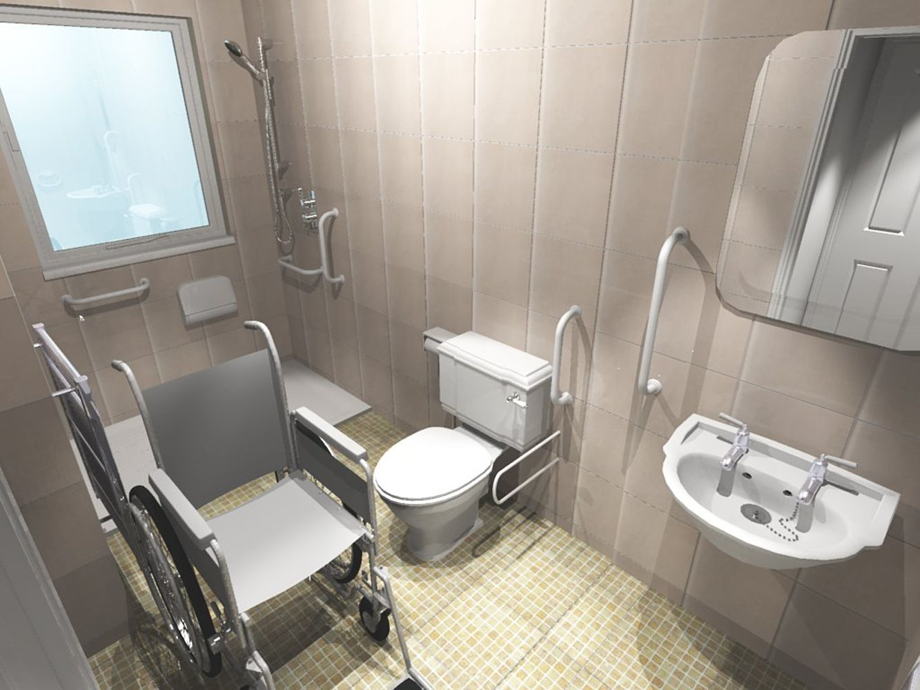 bathroom handicap accessible with chair picture pinned for bar placement ideas - Bathroom Design Ideas Disabled
