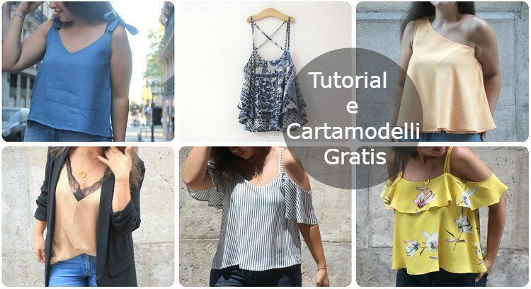 edfe7aa389 Canotte donna: cartamodelli gratis e tutorial | pattern | Canotta ...