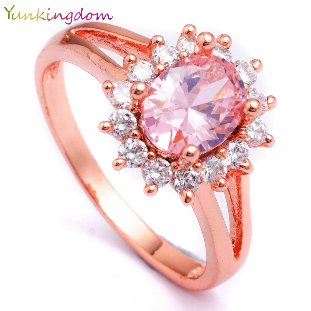 Yunkingdom Pink Flower Rings for Women Rose Gold Color Ring Cubic ...