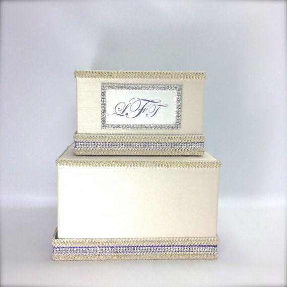 Wedding Gift Card Box Lavender Monogram Silver by WrapsodyandInk