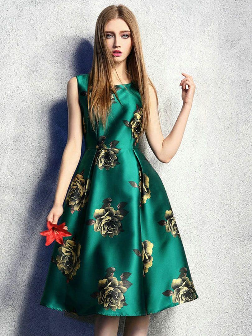 1883432fedab Green Retro Floral High Waist Sleeveless Midi Skater Dress