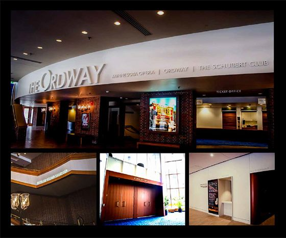 Entry:Best Interior Solution. Ordway Center for Performing Arts. St. Paul, MN ASI MN was tasked with the interior and exterior signage for the expansion and renovation of the Ordway Center for the Performing arts in Saint Paul Mn. The signage requirements were to create a seamless transition between old and new.  The scope of work was defined as part wayfinding, part branding, and a great deal of donor recognition in several forms