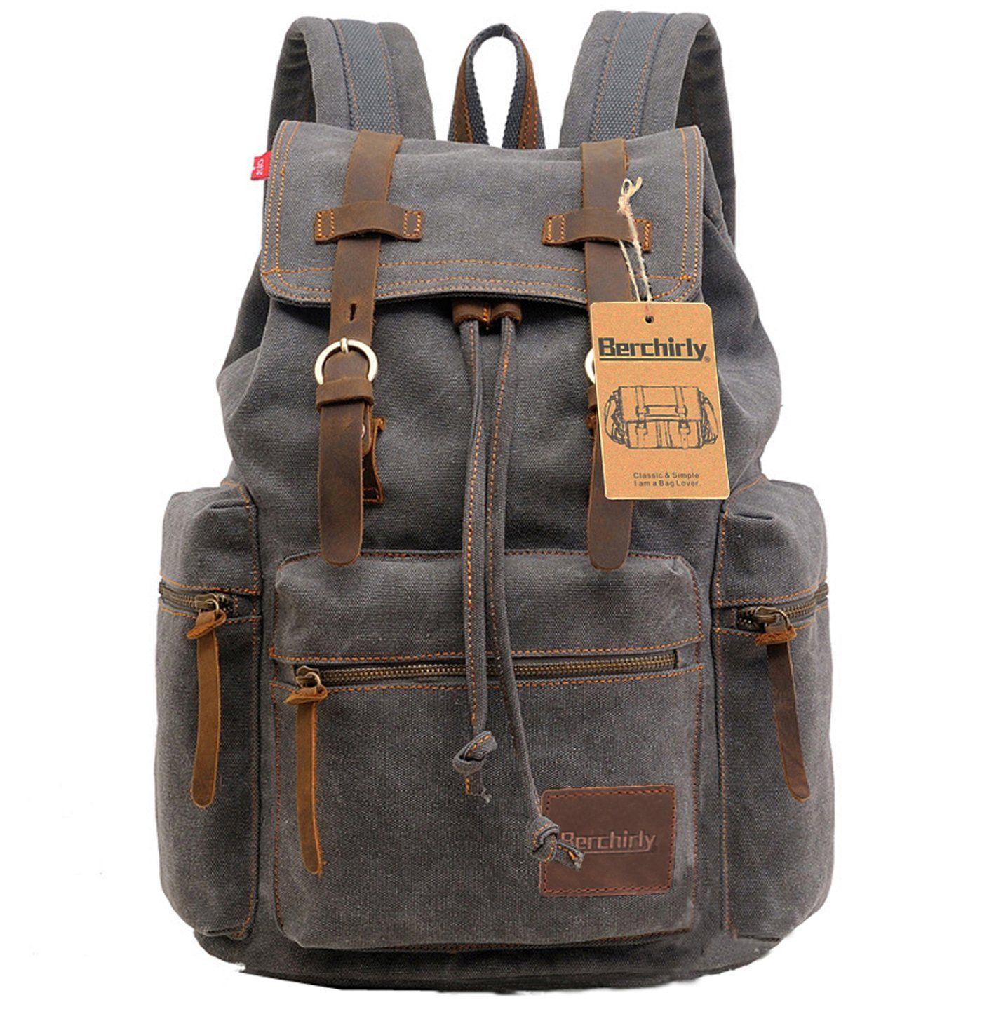 2479971eea Berchirly Vintage Men Casual Canvas Leather Backpack Rucksack Bookbag  Satchel Hiking Bag -- Visit the image link more details.