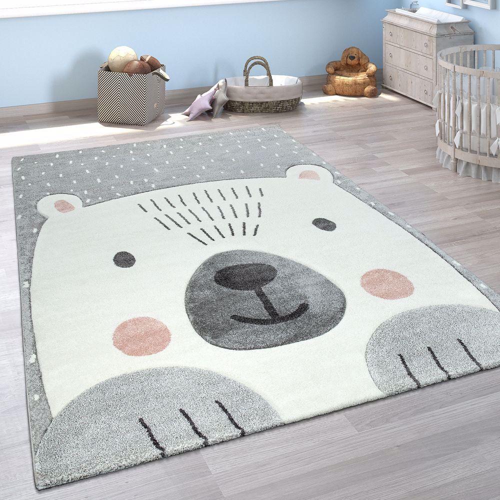 Kinderzimmer Spiel Kinder Teppich Grau Weiß Bär Motiv 3D
