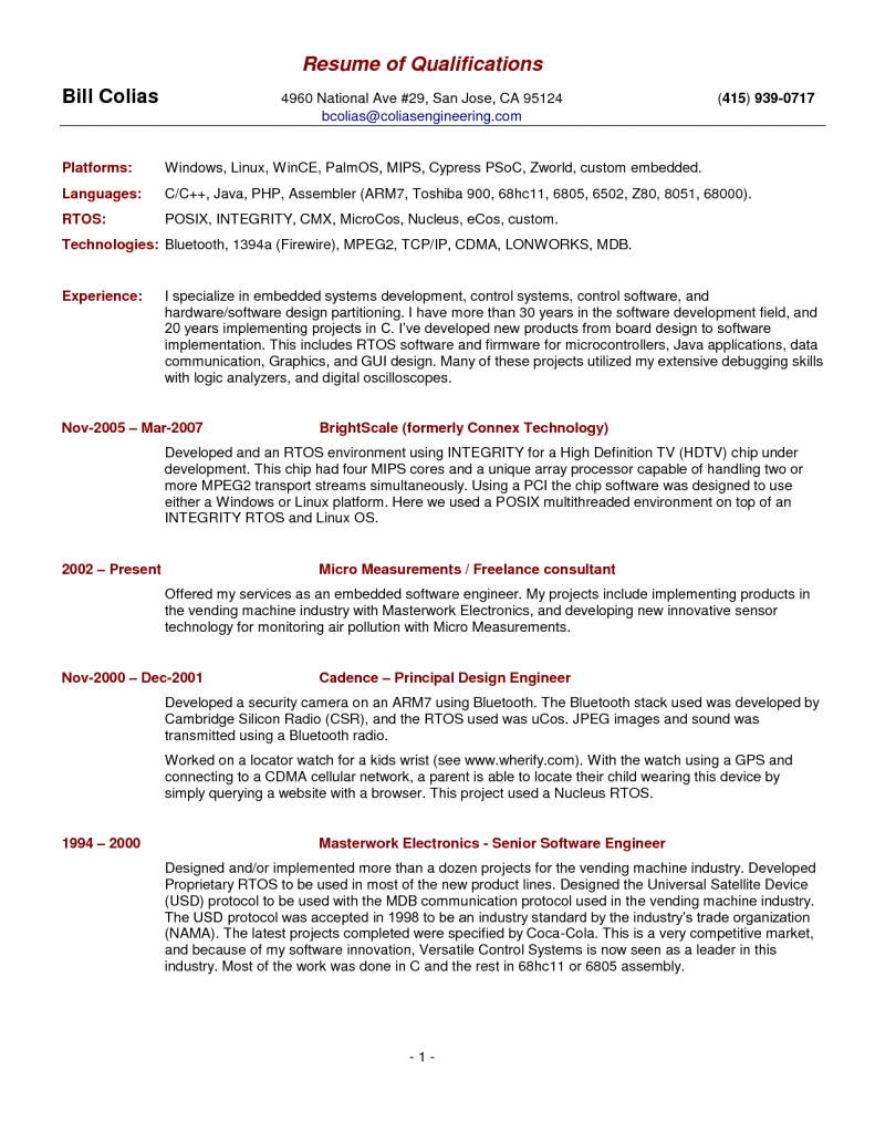 Summary Qualifications Resume Free Templates Professional Examples