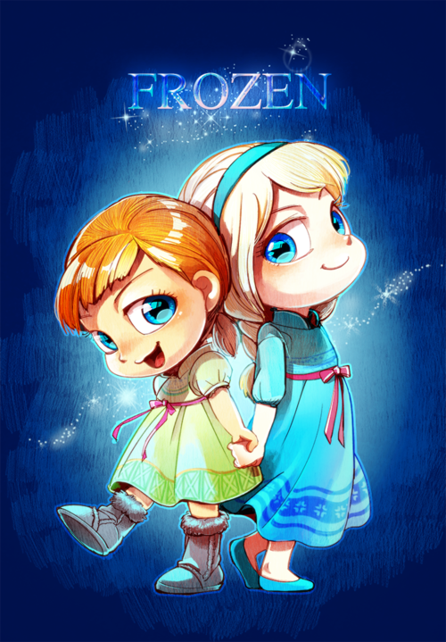 Little Elsa and Anna Chibi disney, Disney frozen, Chibi