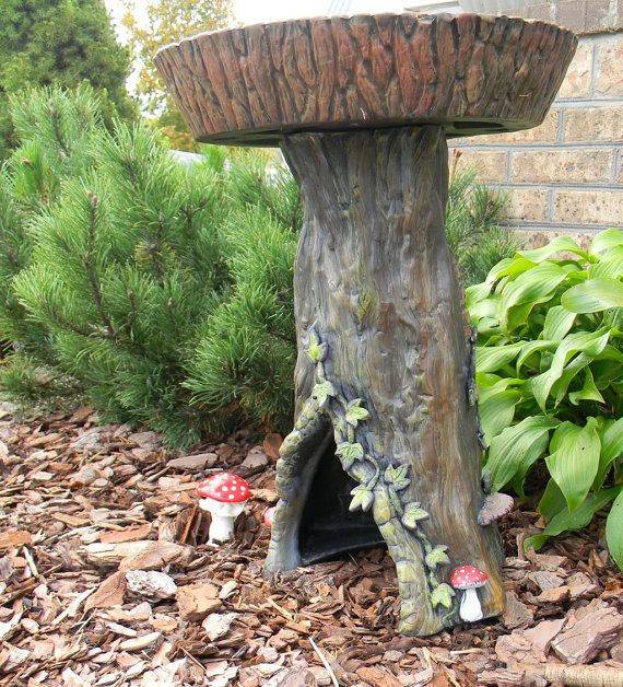 Tree Stump Birdbath Complete With A Toad House Ivy Mushrooms And Fungus Toad House Outdoor Garden Bird Bath