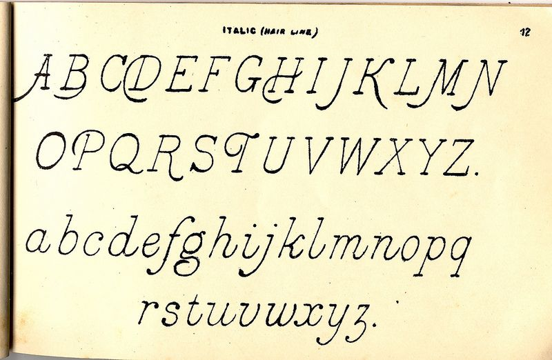 Italic (Hair Line) #alphabet | Ornamental Penman's Engravers, Sign Writers, and Stonecutters Pocketbook Alphabets, by Spon & Chamberlain Publishers