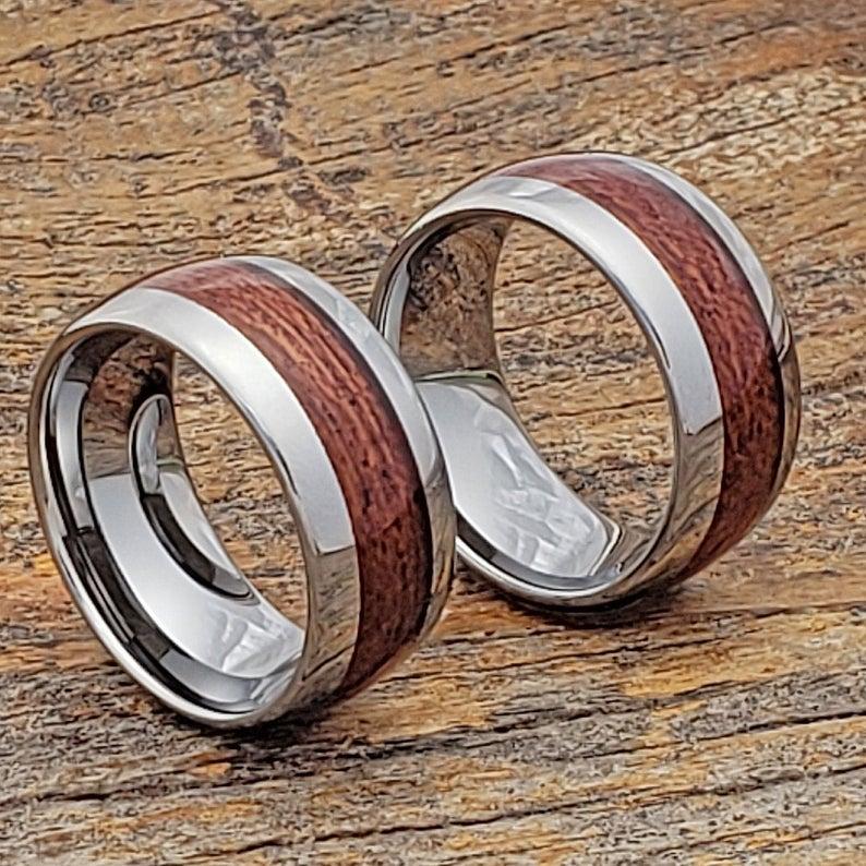 Mens Whiskey Barrel Ring, Mens Wedding Band, Mens Tungsten