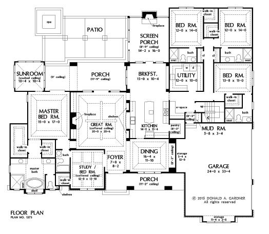 Home Plan The Harrison By Donald A Gardner Architects House Plans One Story How To Plan Bedroom House Plans