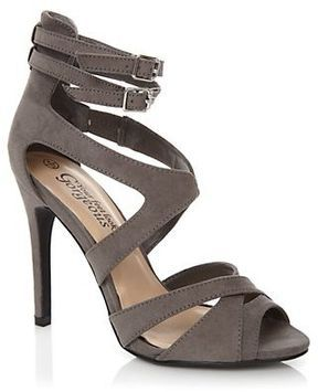 4d96c2ced8 Grey Cross Over Double Ankle Strap Heels on shopstyle.co.uk