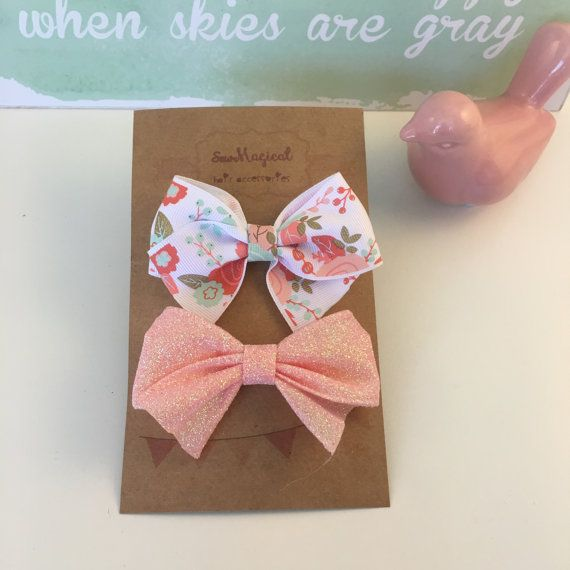 Set of 2 Bows  White Floral & Pink Glitter by SewMagicalByAndrea