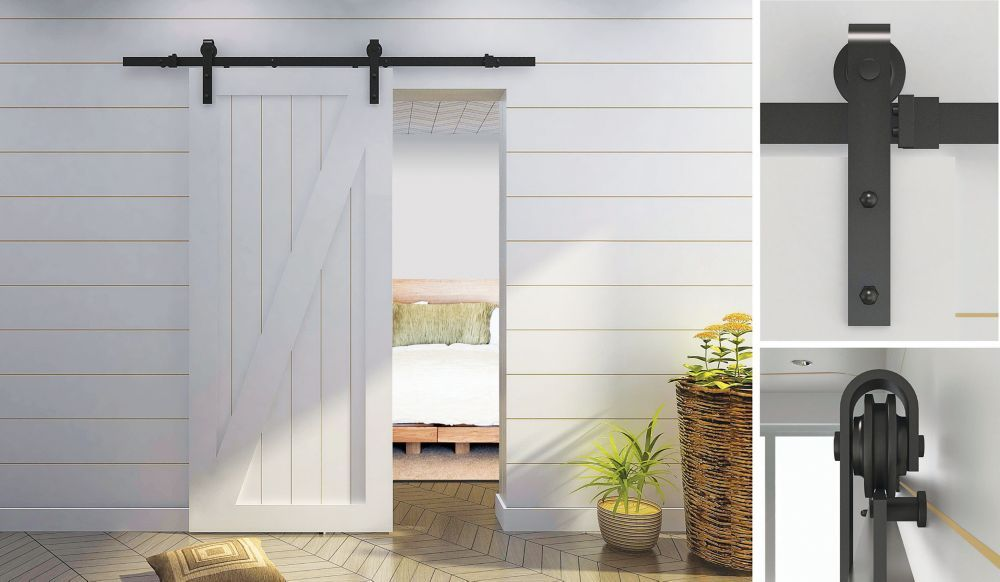 Visible Rail System for Decorative barn Doors-Rustic Style
