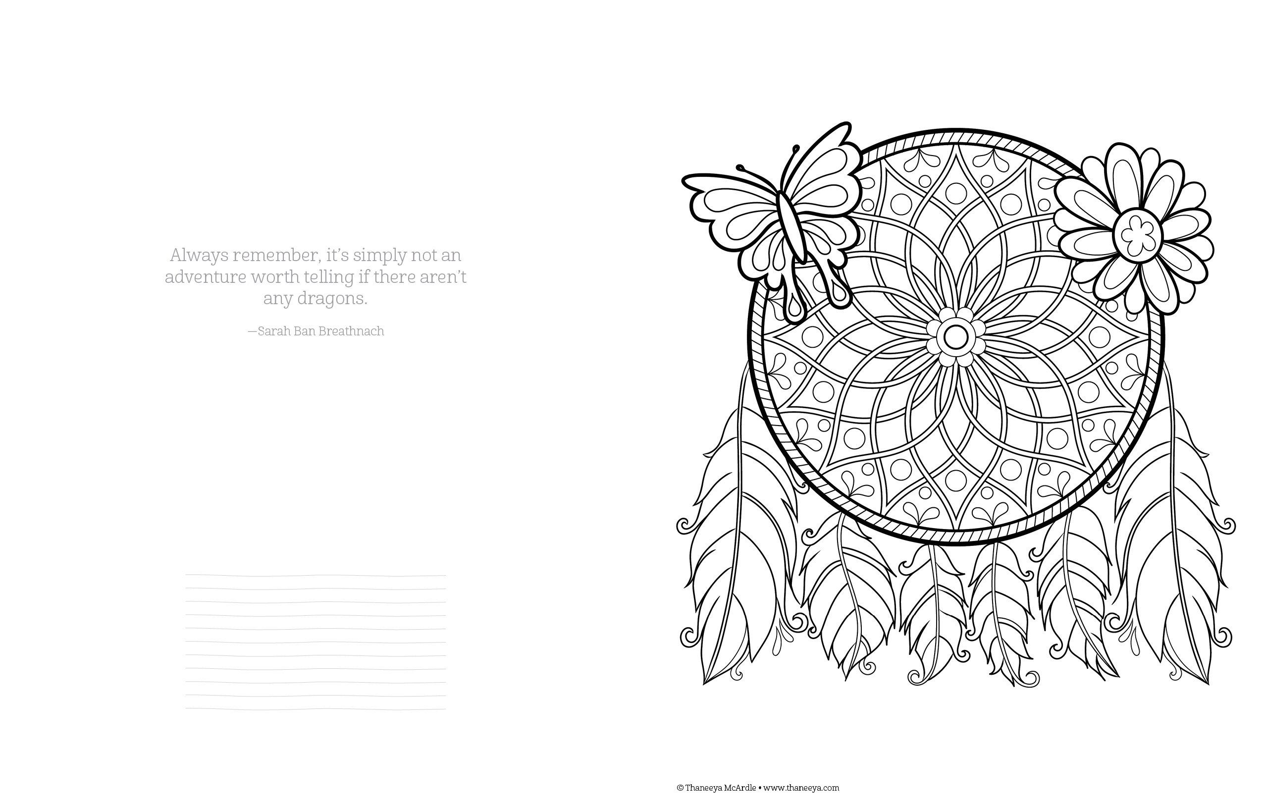 Adult Coloring Pages Books Activity Free Spirit Catcher Printable Colouring Vintage