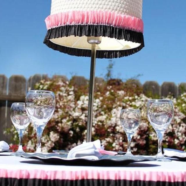 Lamp and Ruffles tablescape. Love the simplicity!