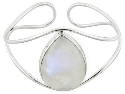 Artisan Gem Collection Of India, Pear Shape Rainbow Moonstone Sterling Silver Cuff Bracelet