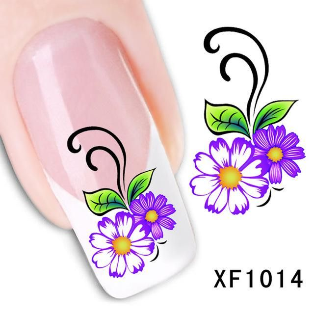 Pretty 1 Sheet 10 styles Mixed Flower Water Transfer Nail Art ...