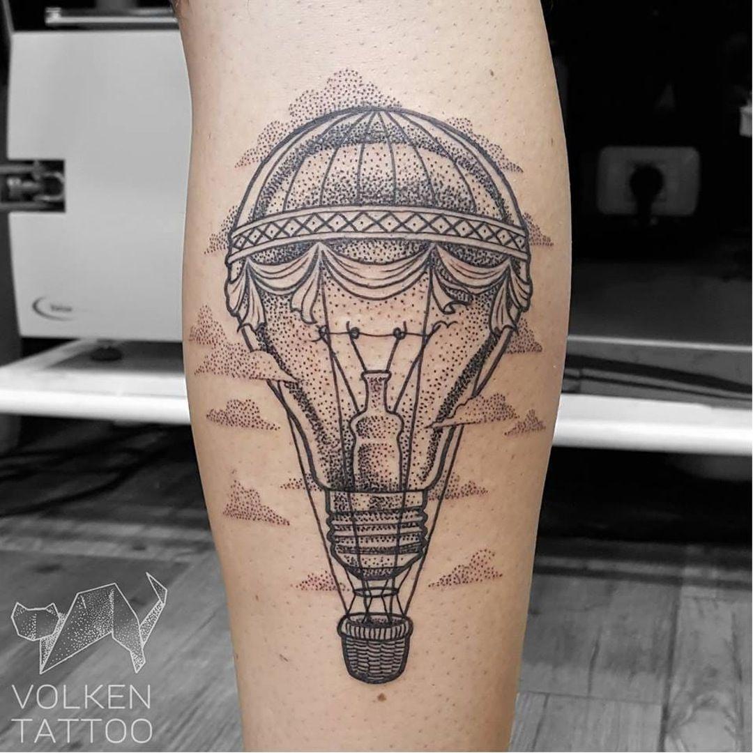Mashup Tattoo By Volken Volken Dotwork Dotshading Lightbulb Hotairballoon Creative Balloon Tattoo Lightbulb Tattoo Tattoos