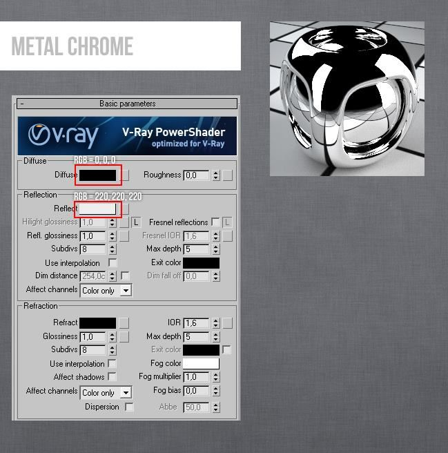 Vray metl chrome material 3ds max v ray material 3ds - 3ds max vray exterior lighting tutorials pdf ...