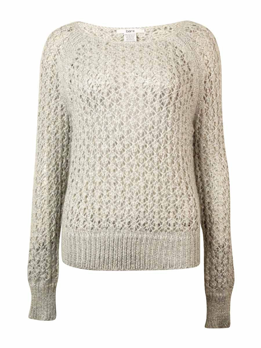 Bar III Women's Long-sleeve Metallic-flecked Sweater