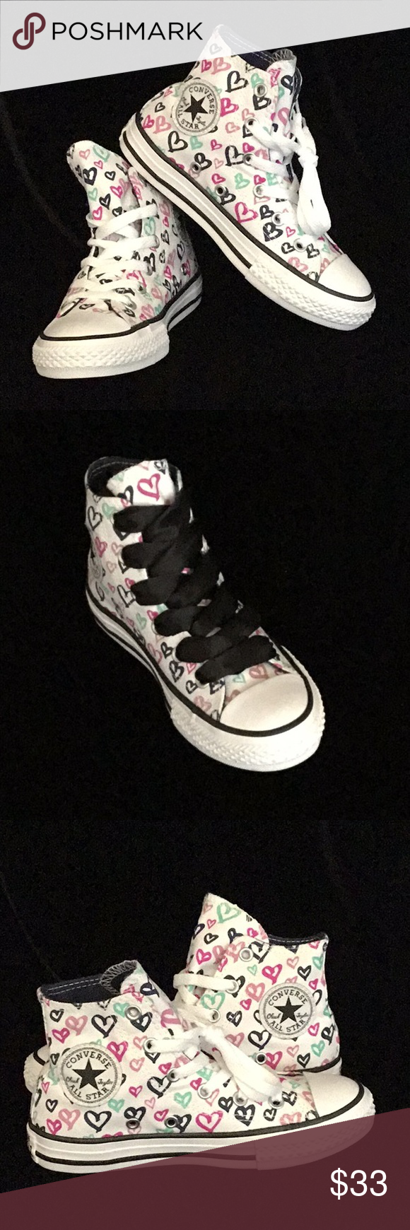 d25688037d96 Converse - Chuck Taylor - Hearts Youth US 13    New    Youth Hi top - 9  Inches long Multicolored Heart Chuck Taylors Black stings not included  Converse ...