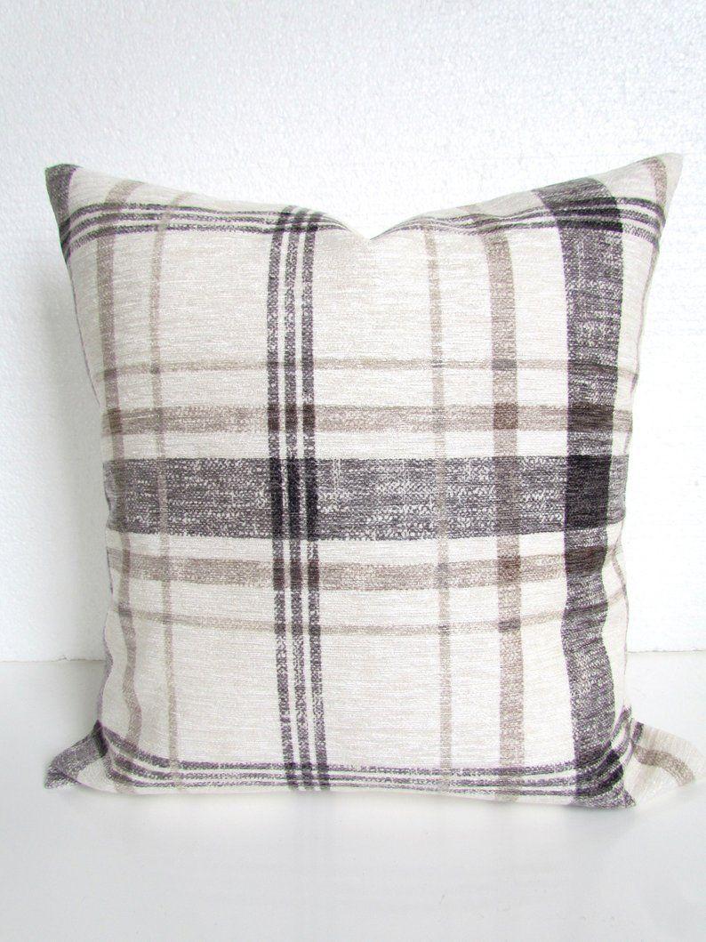 Gray throw pillows farmhouse pillows buffalo check pillows