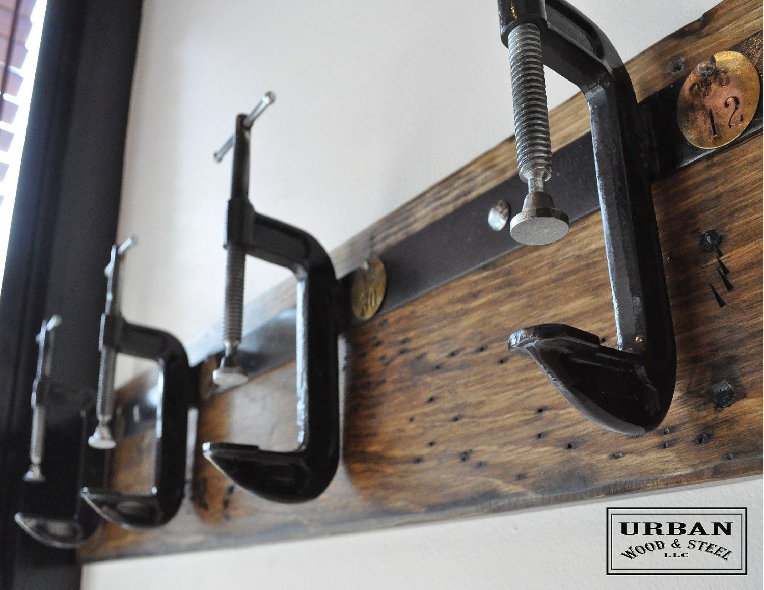 Industrial C Clamp Coat Rack Etsy Wood Steel Eclectic Wall Hooks Coat Rack